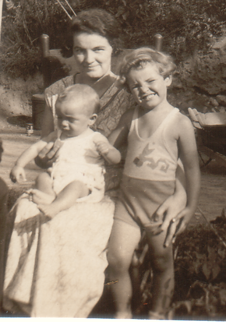 Mildred Nagle (grandma) with her two boys Donald and Thomas, 1934-5?